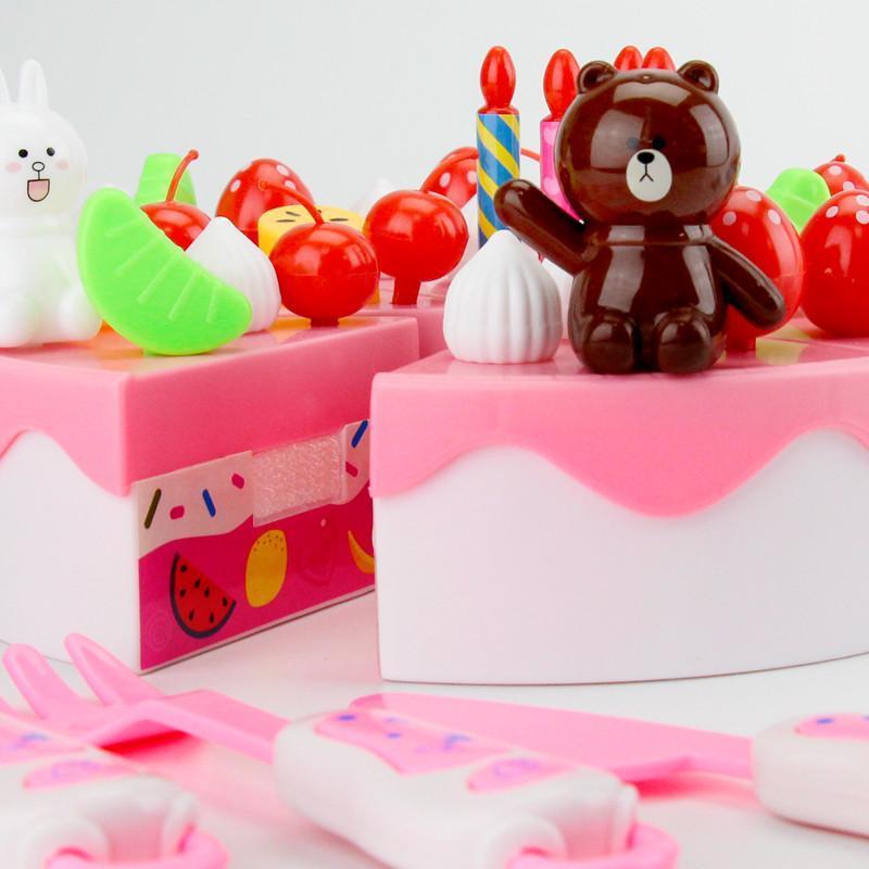 儿童生日蛋糕1-3岁男宝宝女孩益智过家家厨房小孩切切乐玩具礼物 粉色