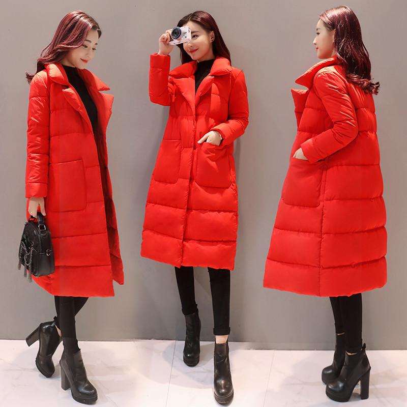 冬装冬季新款大红色西装领外套服鸭绒扣女装磁力时尚宽松显瘦潮羽绒服泥皮图片