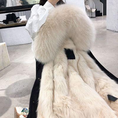 可拆卸2019新款冬季仿狐狸貉子毛内胆派克服大衣中长款仿皮外套女