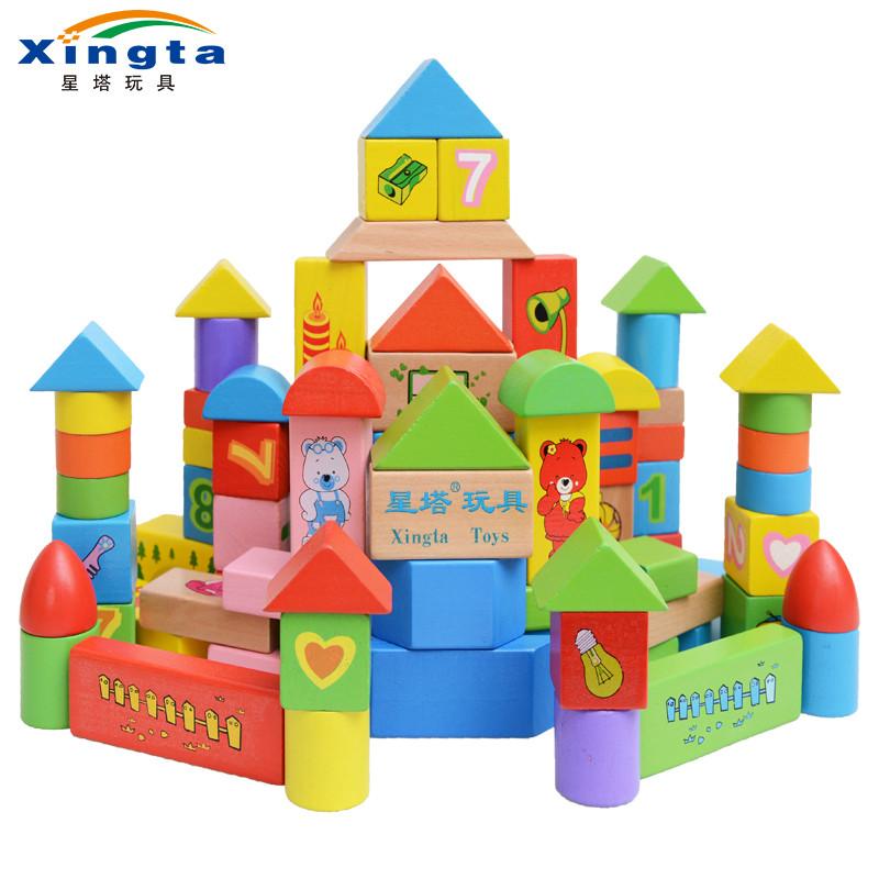 星塔启蒙110粒小熊之家木制积木 儿童早教花纹积木玩具 智力开发教学