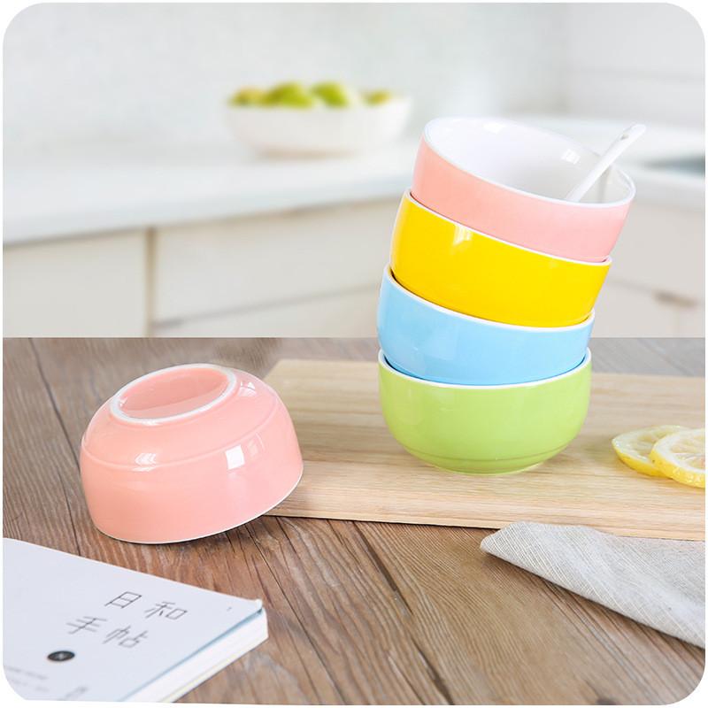 文博 创意家用简约可爱陶瓷碗e066厨房糖果色米饭小碗