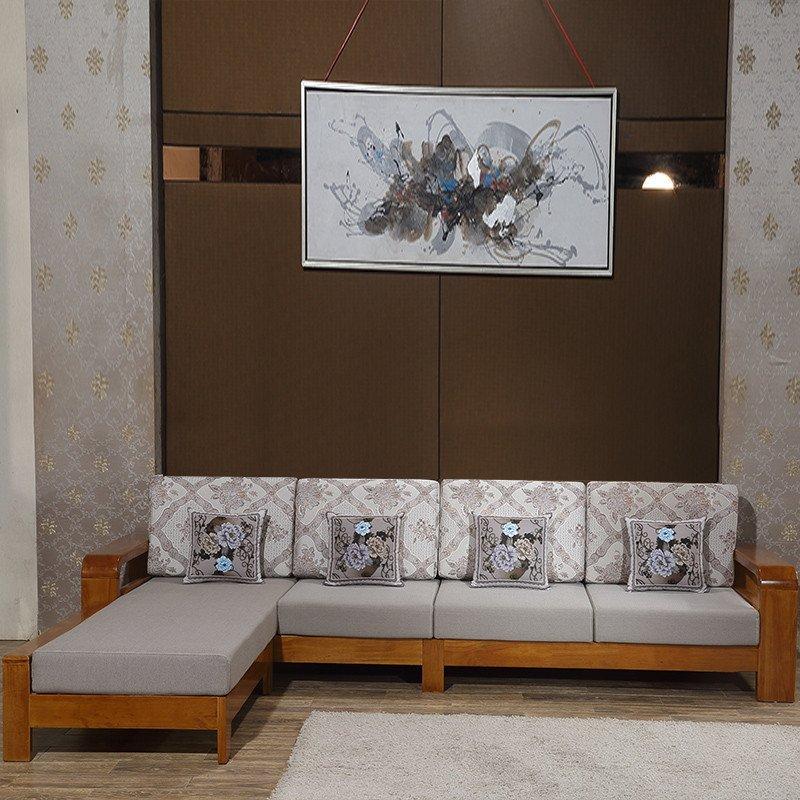 实木沙发组合l型中式橡木沙发