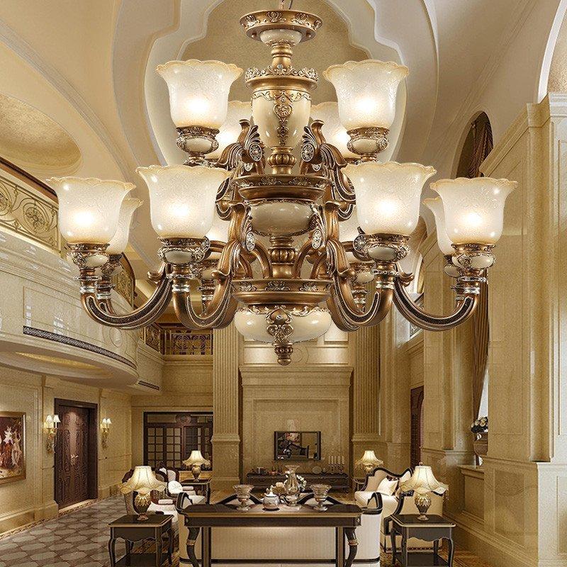 异朵 欧式吊灯客厅灯具田园 简欧树脂灯饰 复古铁艺大厅灯具 卧室餐厅