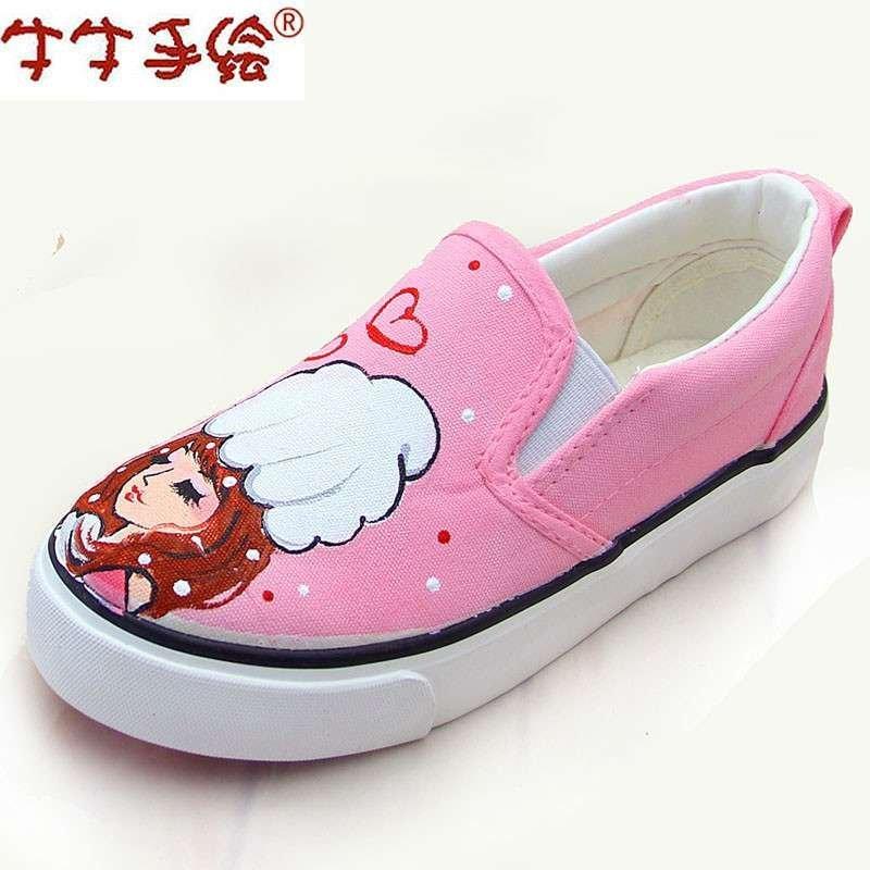 牛牛手绘鞋 卡通女童鞋儿童帆布板鞋 亲子鞋套脚牛筋韩版学生运动鞋小