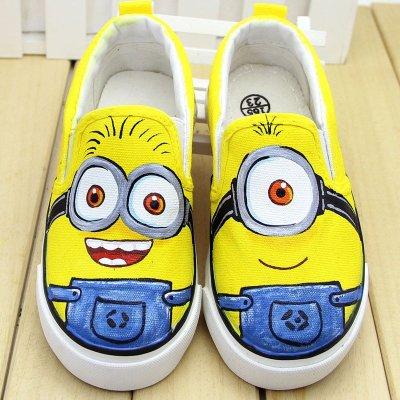 牛牛手绘鞋2015卡通小黄人儿童帆布鞋子球鞋低帮