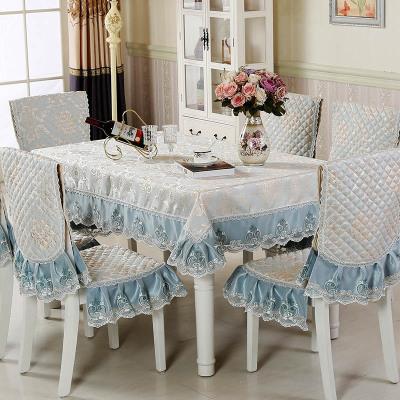 六月荷 餐桌布套裝椅墊椅套布藝亞麻椅子套圓桌布臺布