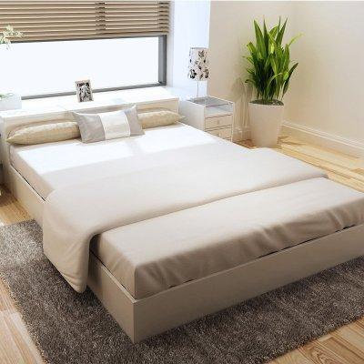 格维朗 双人床单人床大床木床板式床 高箱头柜床 1.5m乳白