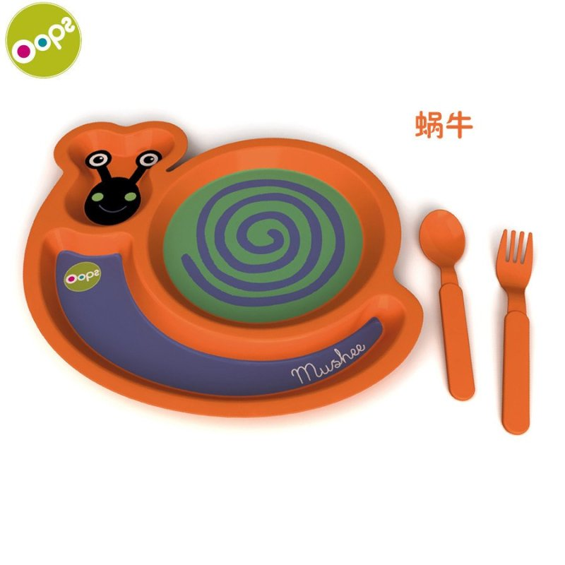 瑞士oops 宝宝卡通动物餐盘 儿童餐具套装 碗叉子勺子