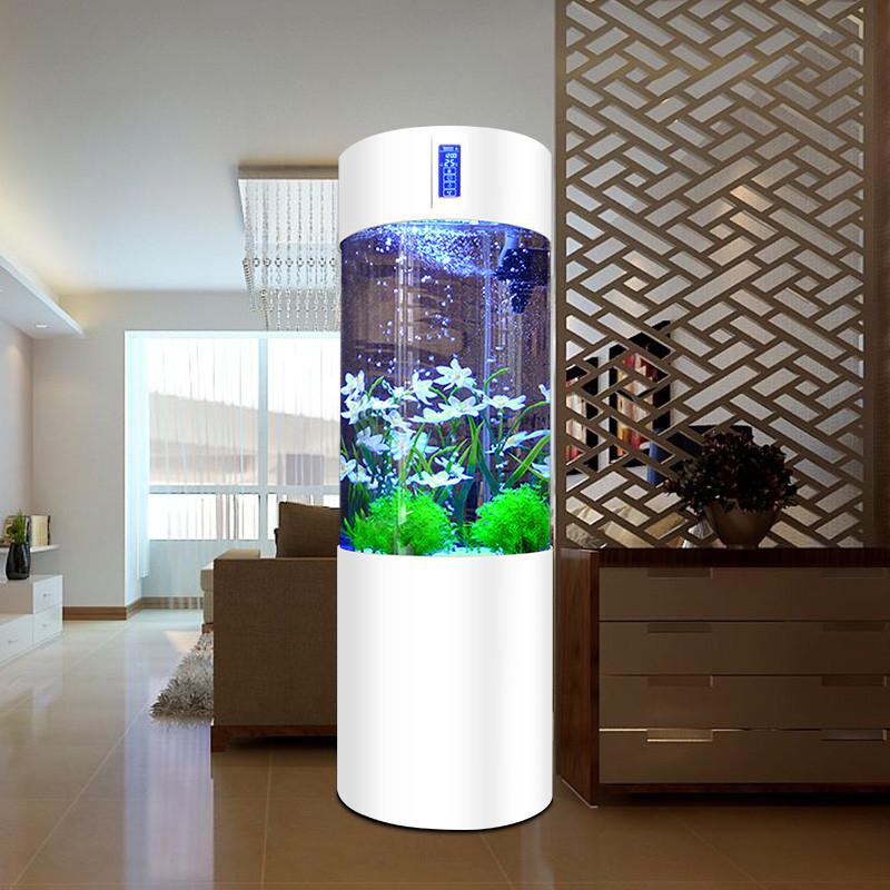 亚克力圆柱鱼缸 中型生态圆柱形鱼缸 圆形上过滤水族箱