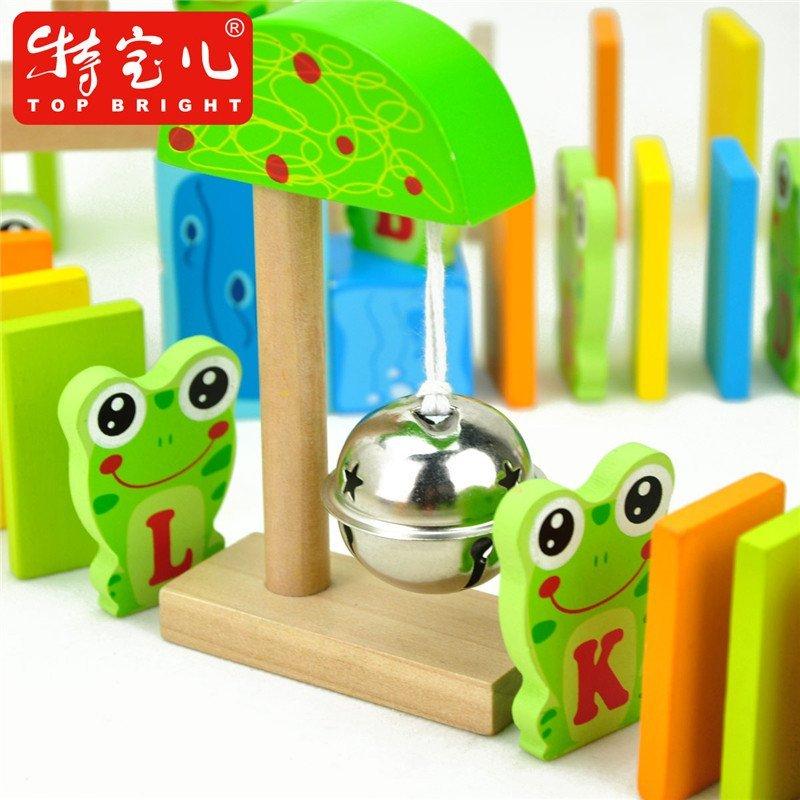 特宝儿青蛙公园漫步多米诺骨牌100片木制木质儿童玩具识字积木