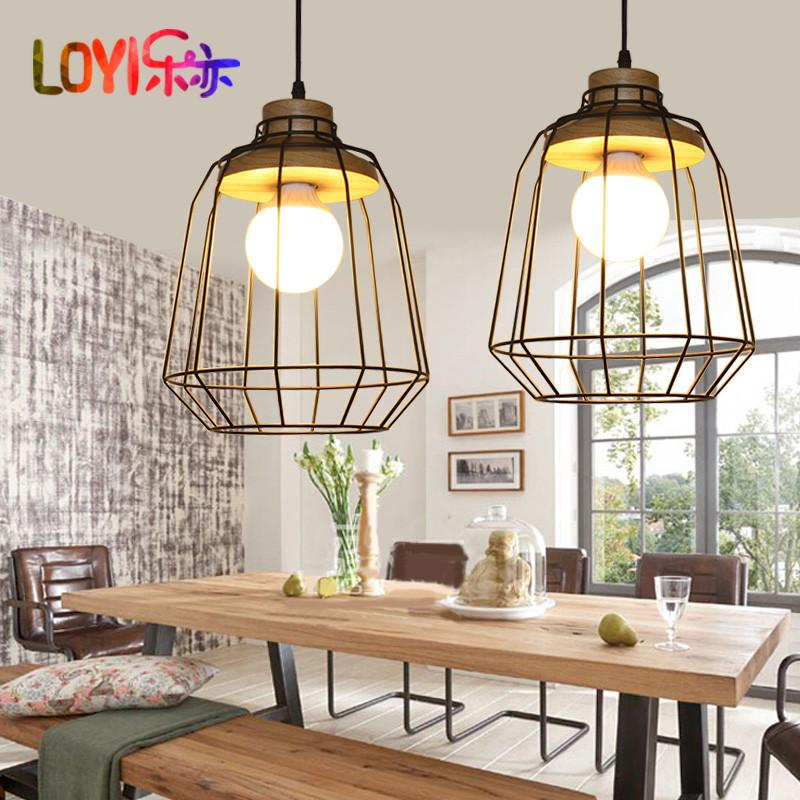 乐亦乡村复古吊灯设计师北欧风个性餐厅吊灯咖啡厅吊灯美式铁丝网吊灯