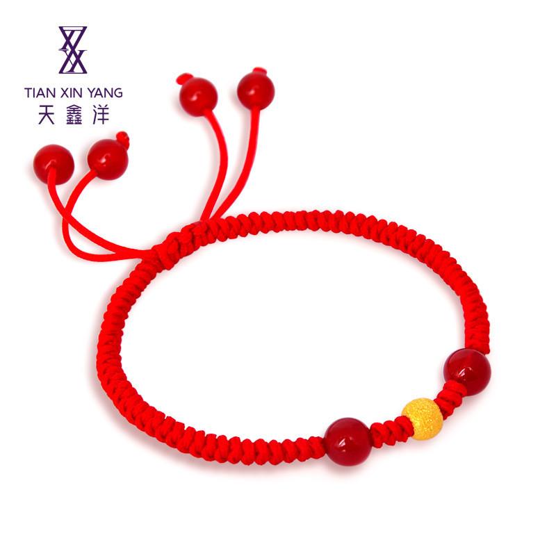 天鑫洋 足金黄金转运珠 金珠编织手链手串红绳
