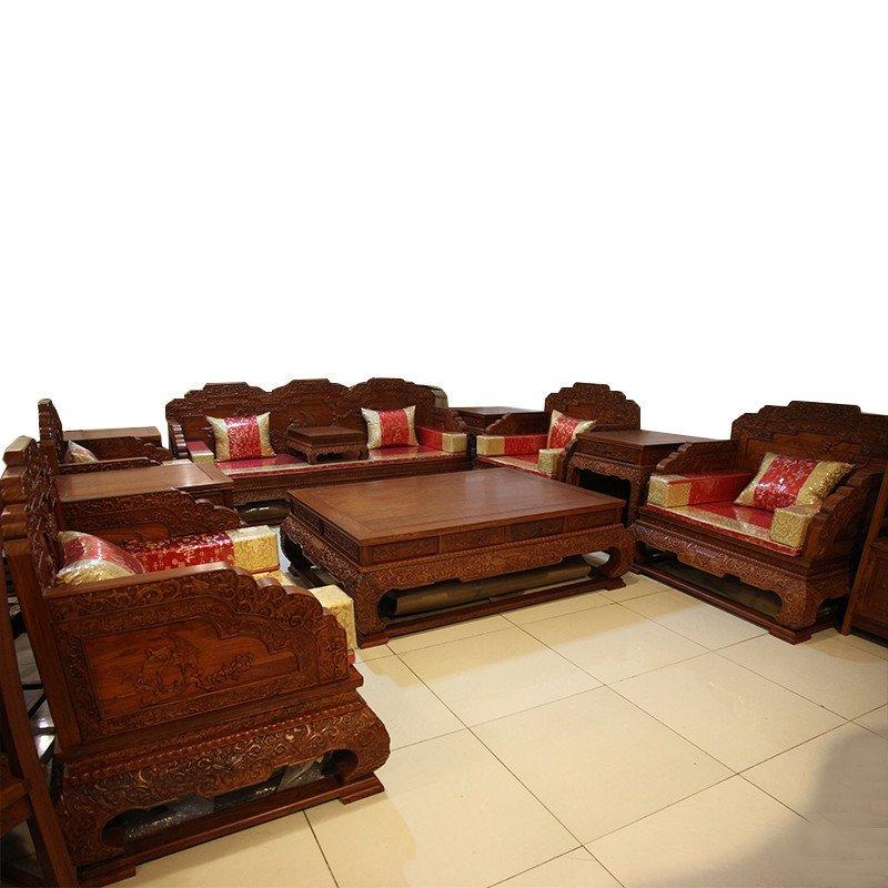 集一美红木家具红木沙发11件套实木宝座双面雕花客厅非洲花梨木 六