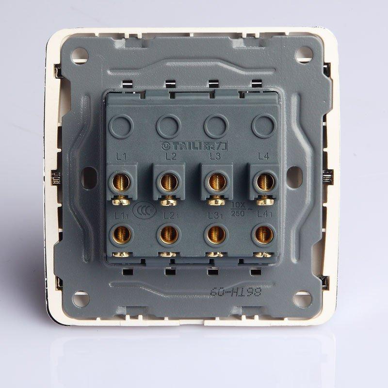 泰力开关插座 正品86th型 四开单控四位四按键单极墙壁开关面板