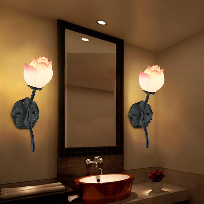 千歌 新中式壁灯客厅卧室床头灯现代艺术走廊荷花墙壁灯酒店工程灯具图片