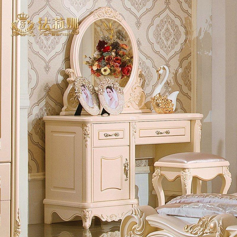 欧式化妆桌 法式实木梳妆台妆镜柜