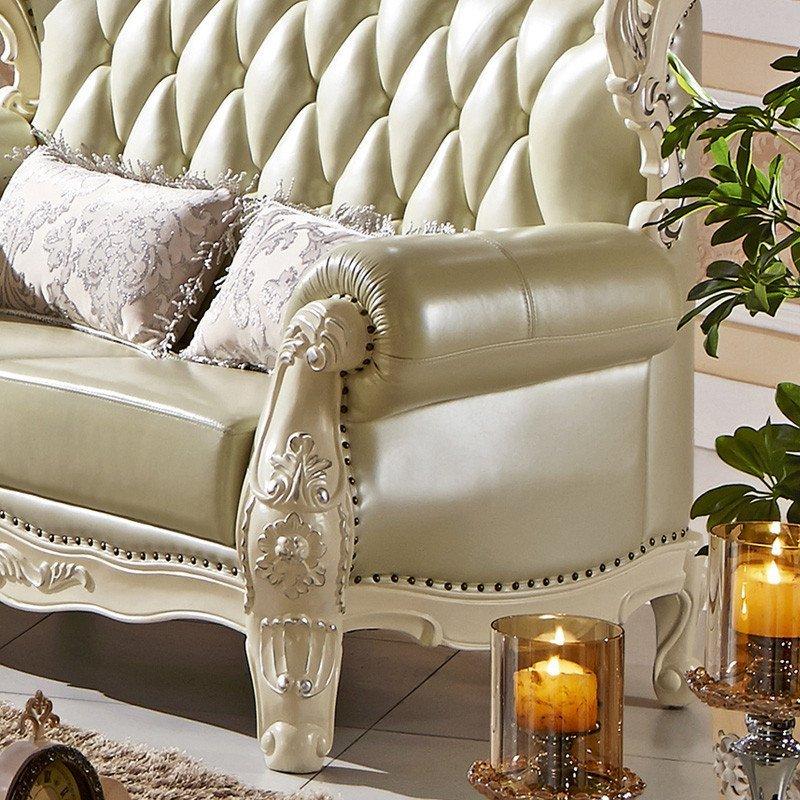 欧式真皮沙发 全实木雕花皮艺sofa组合
