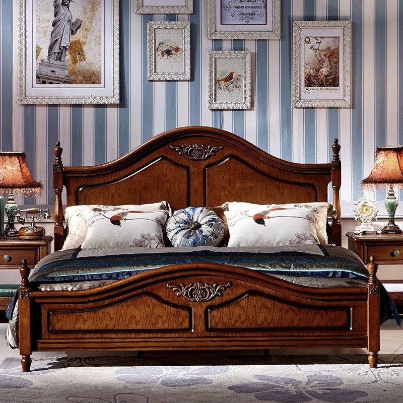 法莉娜 欧式实木床 美式乡村橡木双人床 法式新古典储