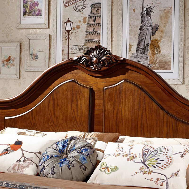 法莉娜 欧式实木床 法式古典双人床 深色木质高档橡木