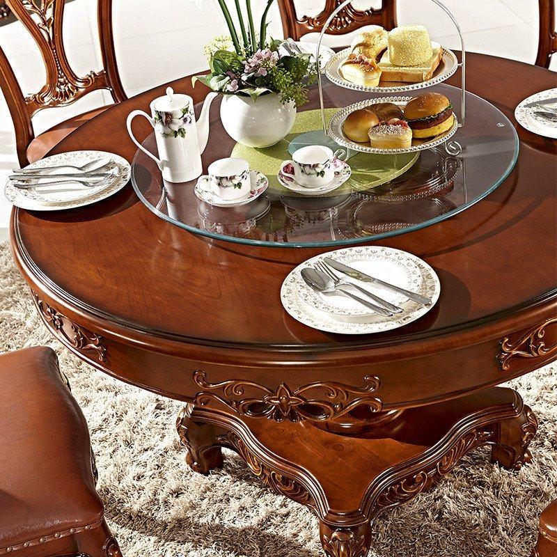 法莉娜 欧式餐桌椅组合 美式实木圆餐桌带转盘餐台新古典饭桌 d62
