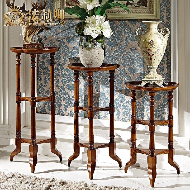 法莉娜 美式实木花架多层 欧式落地花几花盆架 中式客厅花台 d79图片