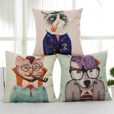 【京好】手工刺绣抱枕套 欧式风格提花沙发靠垫套a7-3 烟斗猫(不含