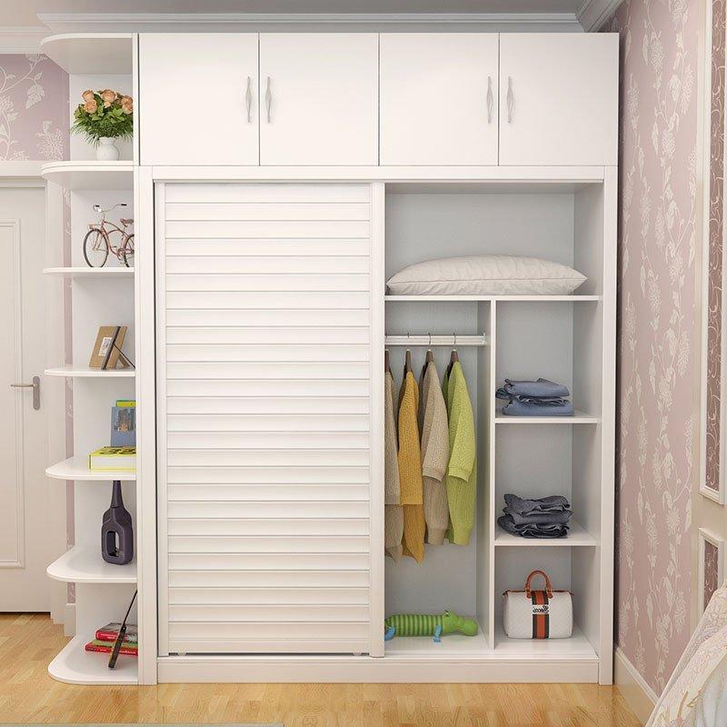 白色/木纹色推拉门衣柜组合