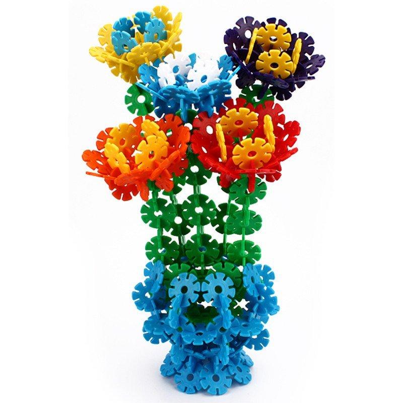 科博加厚传统雪花片玩具1000片桶装建构积木