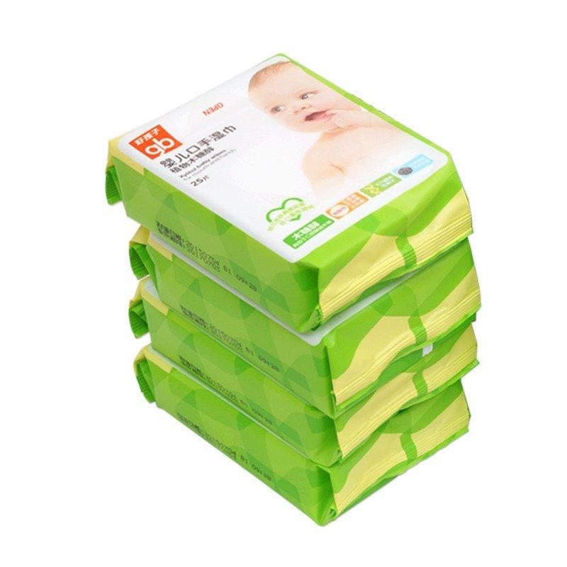 好孩子婴儿口手湿巾植物木糖醇湿纸巾25片4连包 u1205