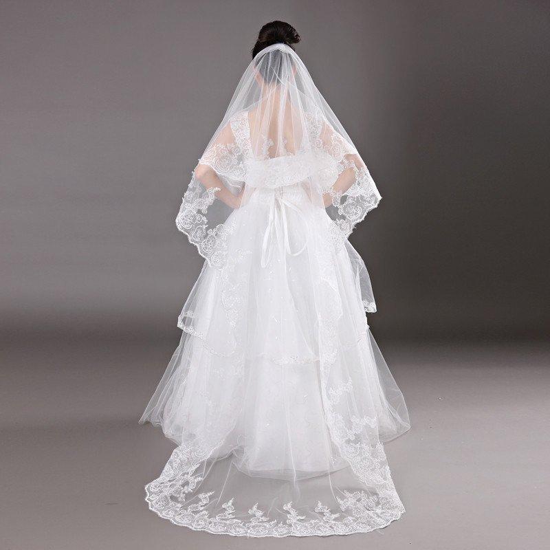 时光叙 蕾丝花边3米超长婚纱头纱亮片新款拖尾结婚礼服配饰 ts11-45图片