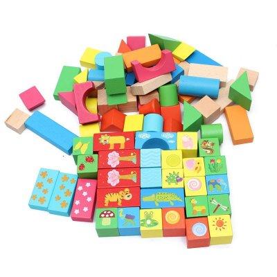 木丸子80粒全榉木动物积木 儿童益智早教玩具