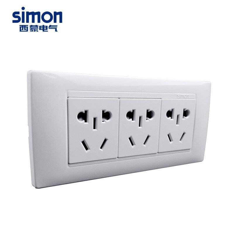西蒙开关插座面板 118型三位电源插座