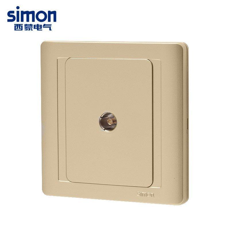 西蒙开关插座面板 55香槟金一位防雷电视插座有线闭路