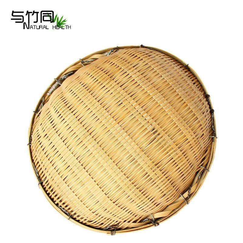圆形竹器簸箕特色竹匾竹篓竹筐篾匠工艺收纳篮餐厅装饰品 中号