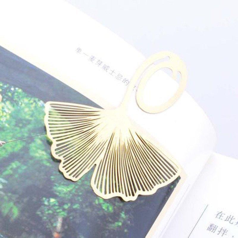 金色银杏叶书签韩版创意铜片金属书签时尚实用文具情侣小礼品图片