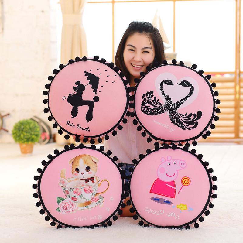绒翼 韩国最萌球球可爱卡通猫咪独角兽黑天鹅圆形靠垫