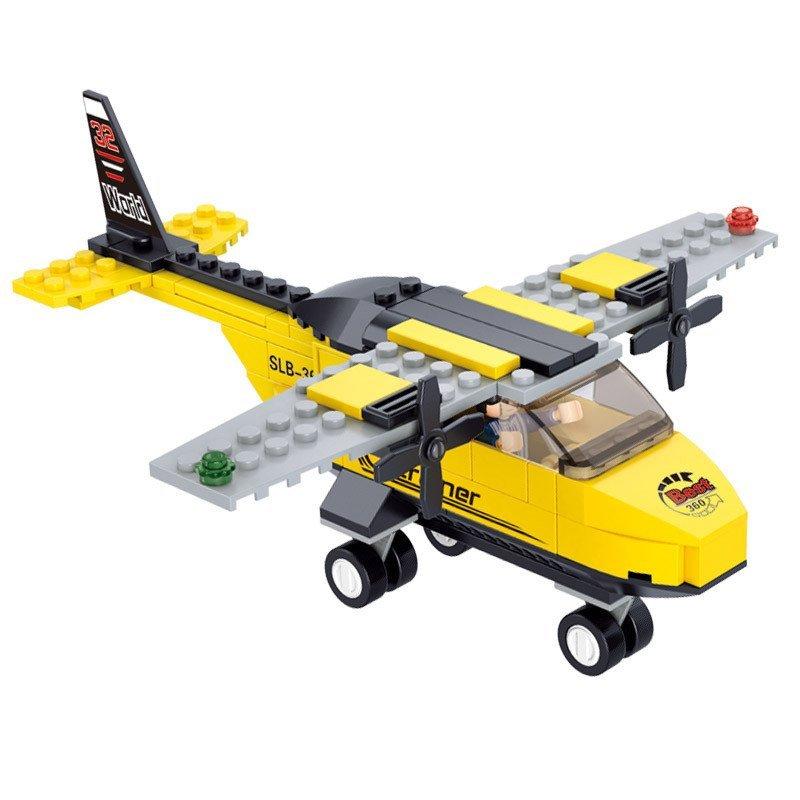 小鲁班b0360积木航空天地t-教练机儿童益智飞机启蒙玩具