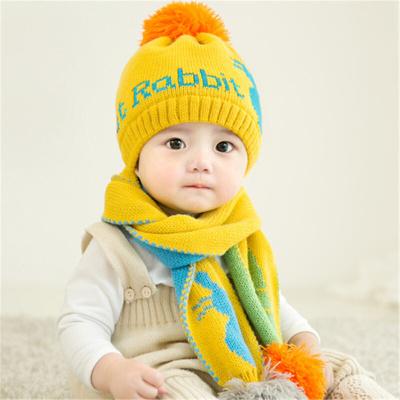 男女童宝宝帽子秋冬1-2岁婴儿加绒帽0-3 6-12个月儿童毛线帽套装