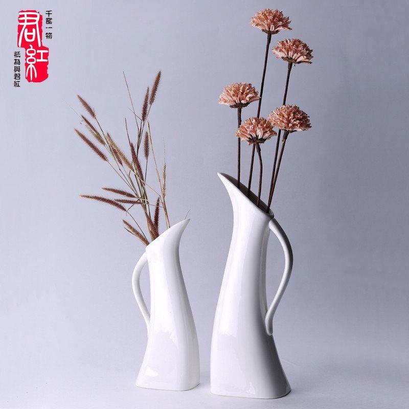 君红陶瓷 伟业系列 简约白色素烧陶瓷花瓶摆件客厅欧式现代花艺北欧风