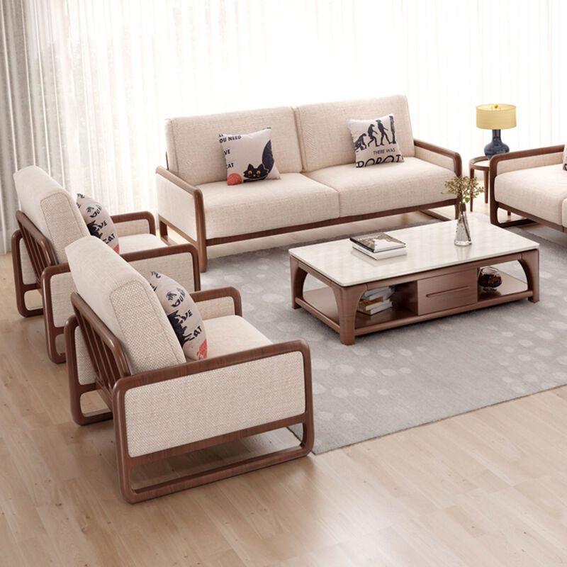 华纳斯美式乡村实木沙发组合 北欧小户型客厅布艺沙发