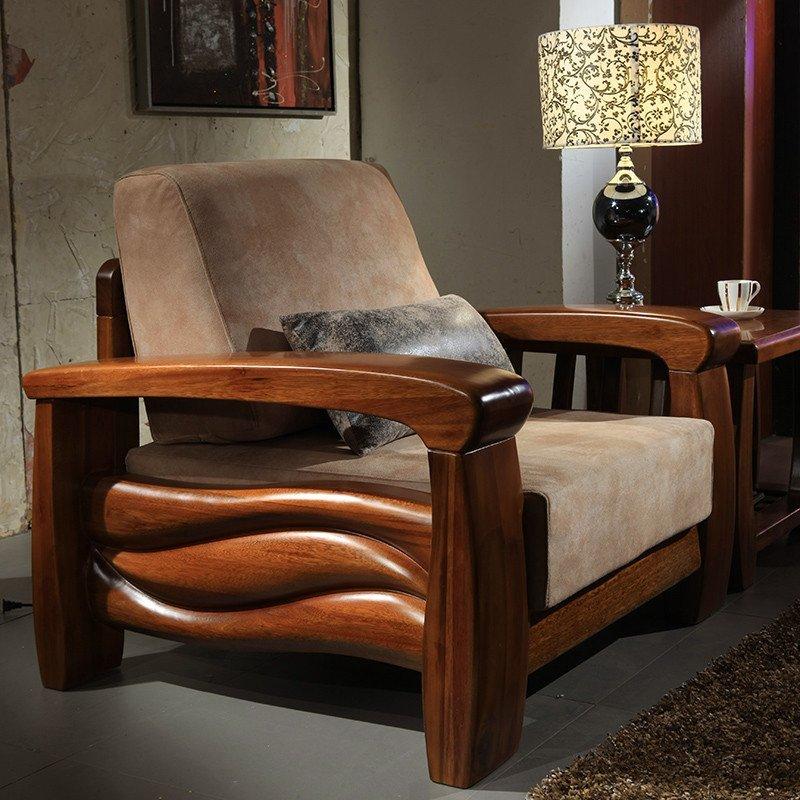麦涵 金丝檀木1+2+3组合实木沙发 实木布艺沙发组合 中式客厅家具901