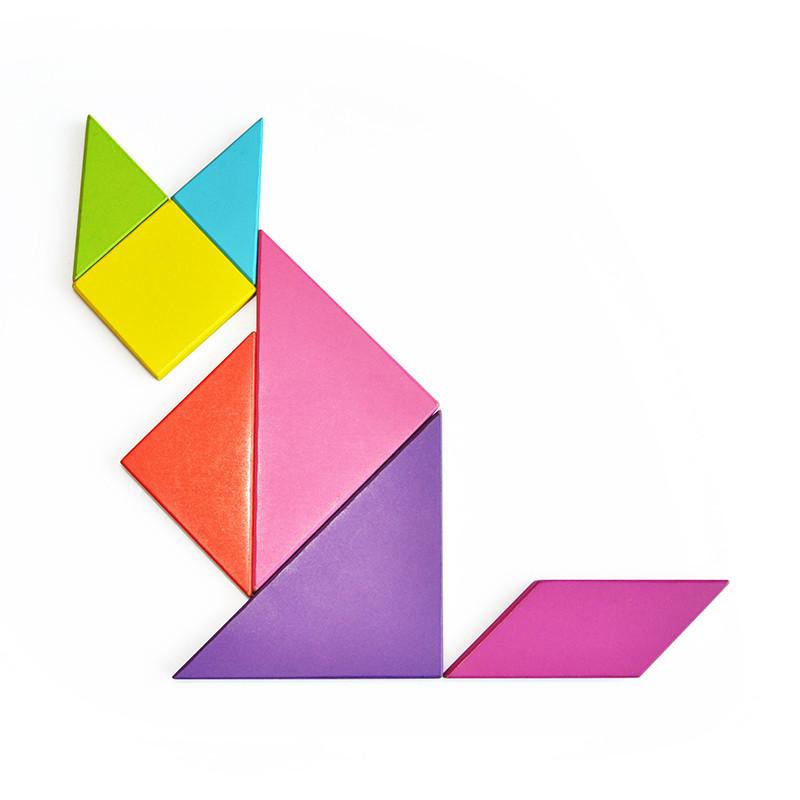 网童奇贝木制玩具七巧板小学生智力拼图拼板益智儿童几何认知形状3岁