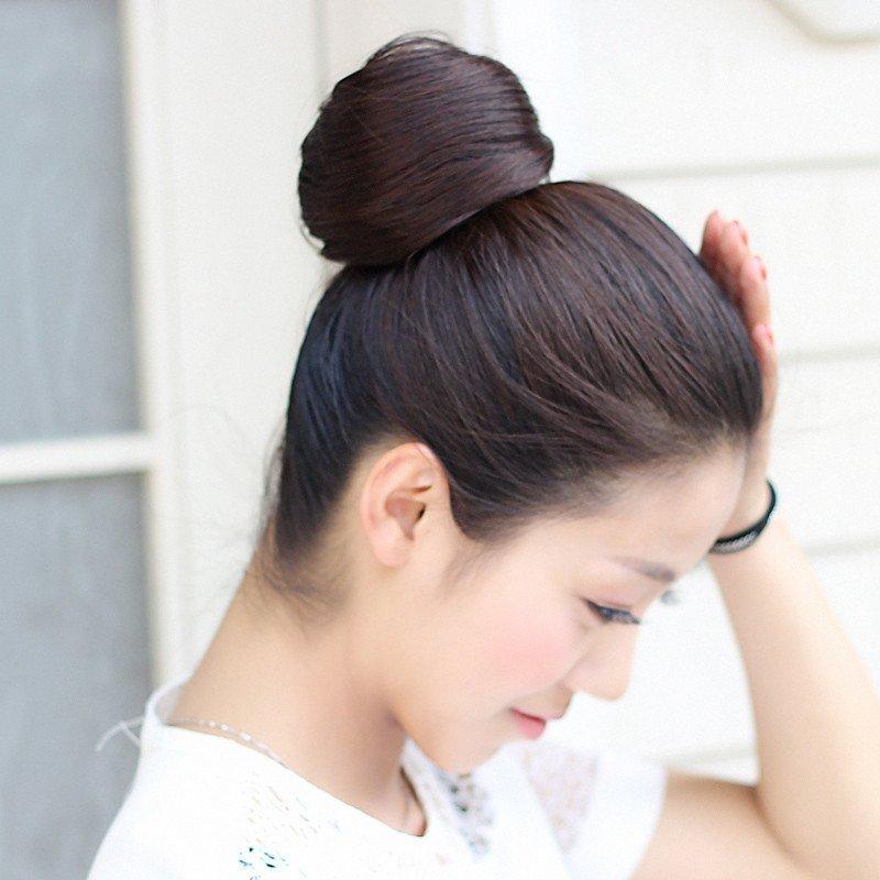 秀假发丸子头直发包 逼真高温丝花苞空气感雏菊女蓬松发圈 深棕色图片