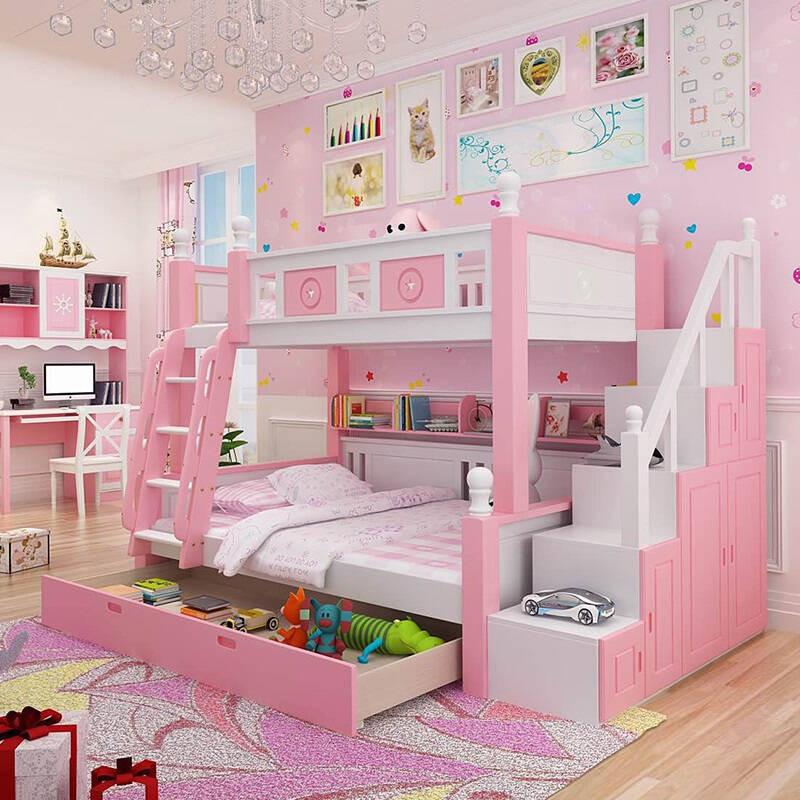 合诚可爱女孩全实木上下床粉色双层床儿童床高低床橡木母子床1350mm*