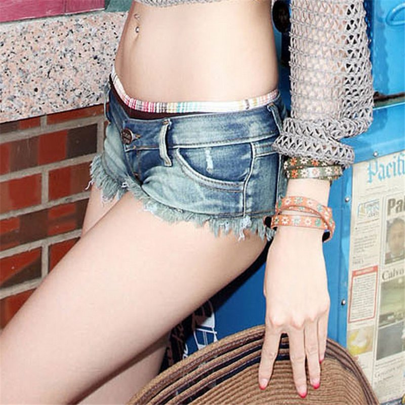 大干美女逼逼_2016牛仔短裤女显瘦夜店低腰齐逼小短裤露臀性感热裤女