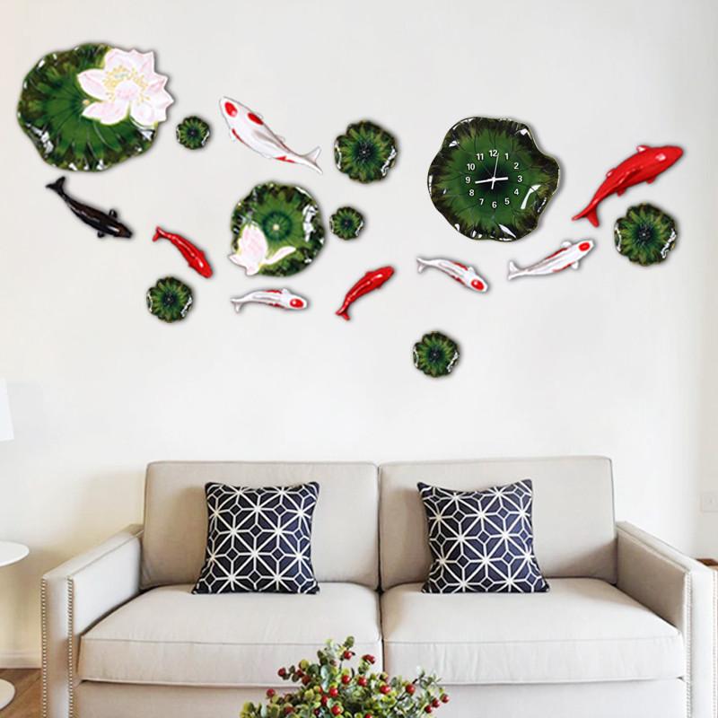 挂钟荷叶鱼立体墙贴鱼套装 家居装饰创意静音钟表墙钟壁钟墙饰壁饰 八