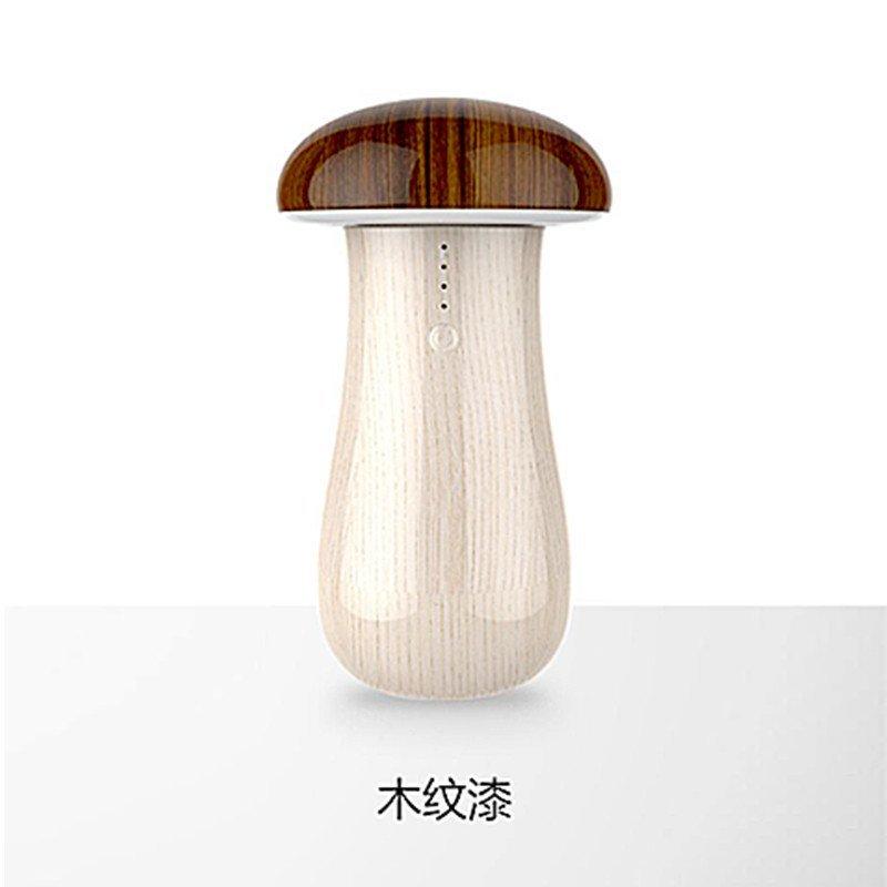 型led台灯充电宝烤漆usb充电台灯带小夜灯(木纹漆)