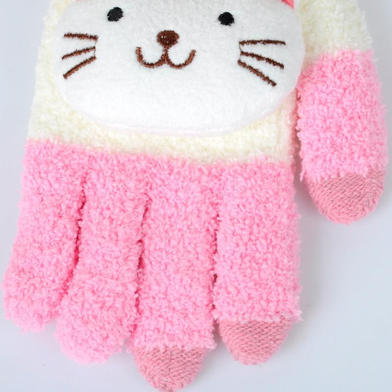 手套女冬季可爱韩版学生触屏手套男冬卡通加绒加厚保暖毛线棉手套