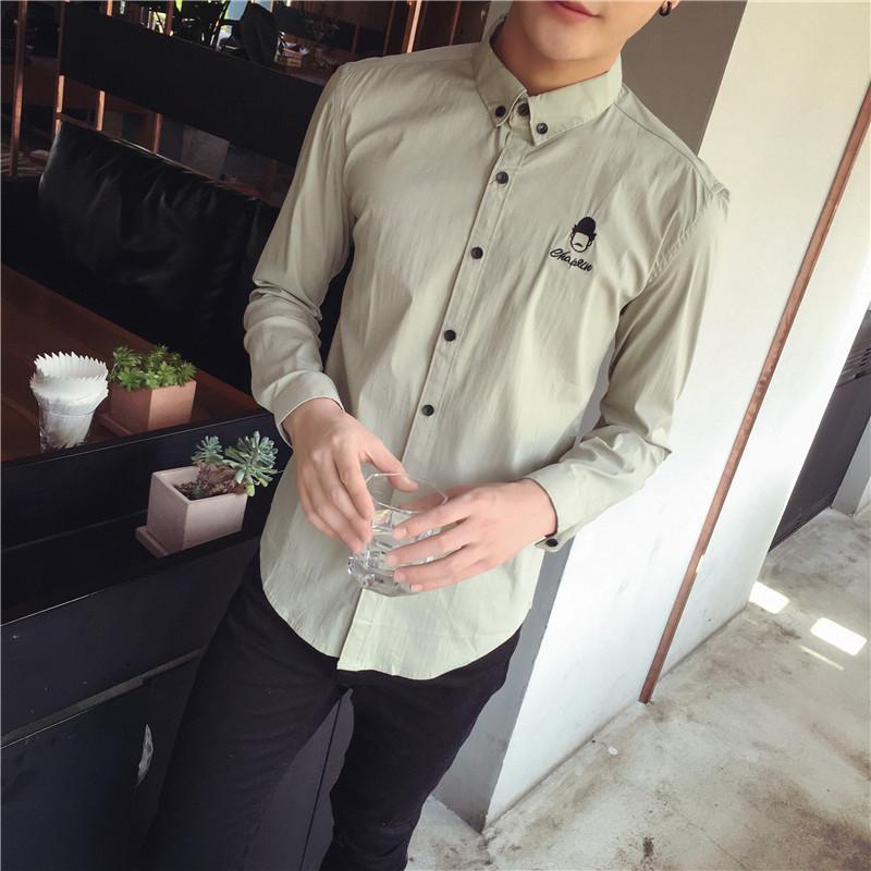 尊首(zunshou)新款2016新款公仔头像刺绣长袖修身型秋季韩版衬衫男