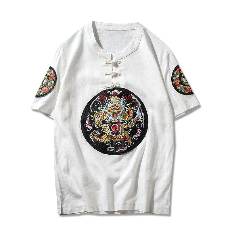 中国风t恤男士戏剧脸谱短袖衣服刺绣男装圆领盘扣花脸
